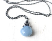 Blue Opal Necklace in Oxidized Sterling Silver - Cornflower Blue Gemstone Wire Wrapped Necklace