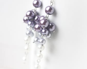 Purple Wedding Bridesmaid Jewelry Pearl Cluster Long Earrings Ombre Color from Purple to White