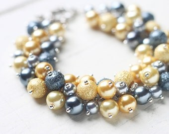 Yellow and Grey Bridesmaid Bracelet, Pearl Cluster Bracelet for Weddings
