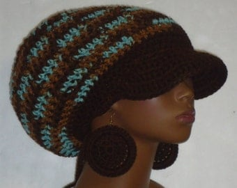 Earth n Sky Brown Trim Crochet Large Brimmed Cap Hat with Drawstring and Earrings Dreadlocks by Razondalee Razonda Lee Made to Order