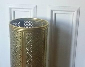 Brass Umbrella or Cane Stand / Filagree Detail