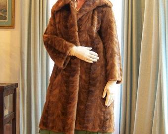 Vintage Herringbone Mink Coat / Mod Short Classic 1950's to 1960's Holiday Glam Dressy Madmen Car Coat Three Season Luxury