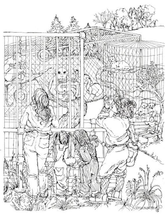 Coloring page instant download to print and colorzoomoms and - Immagini di animali dello zoo per bambini ...