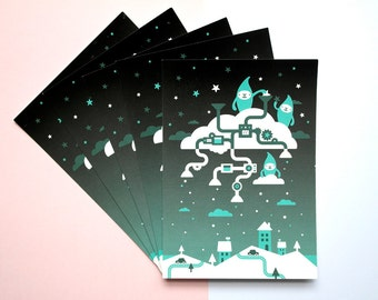 5 cards: Snow makers / snail mail / post cards X-mas / Christmas
