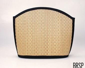 Handmade red shoulder bag purse woven grass not bamboo large clam shape  over the shoulder BRSP