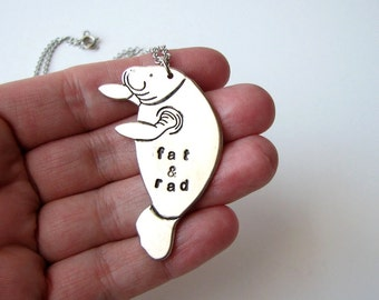 silver fat & rad manatee necklace - personalized sea cow jewelry