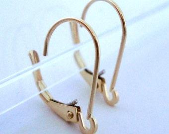 14k Solid Yellow gold leverback plain interchangeable lever back earring findings Ear Wire GGE03
