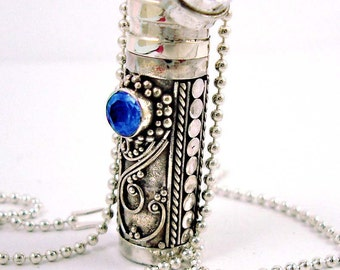 """Sterling silver Prayer Box with September Birthstone Terbium Blue (sub for Sapphire) and 18"""" bead chain necklace PR4"""