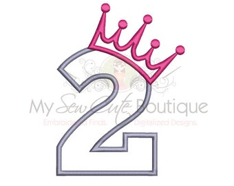 Second Birthday Applique Design - Machine Embroidery Applique Design - 6 Sizes - Instant Download