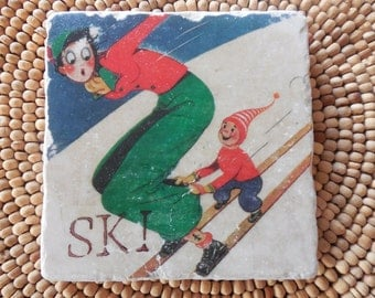 Marble Stone Coaster - Vintage Ski - Ski Decor - Ski Art - Decorative Tile - Coaster - Ski - Drink Tile