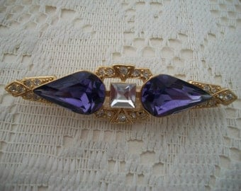 Purple and Clear Crystal Brooch/Pin