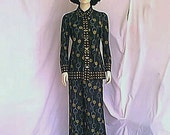 1970s Tribal Print Francis X New York Bell Bottom Pant Suit