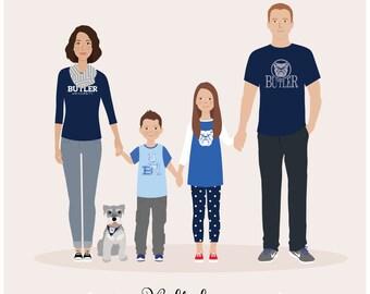 Custom Family portrait, sports theme, sports gift