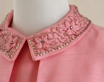 1960s Jackie O Pretty in Pink Jeweled 2 Piece Suit