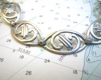 """Sterling Silver Openwork Scrolls Link Bracelet - Small 6 3/8"""""""