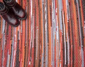 Handwoven Rug - 27x70 woven from Recycled T Shirts-Brown, Rust, Red, Orange, Gray.  Washable & Reversible