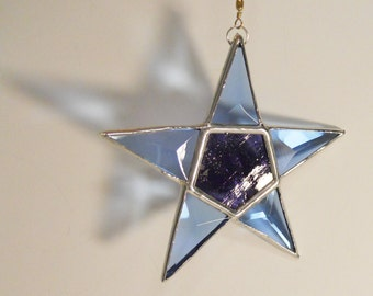 Blue and Purple Bevel Star