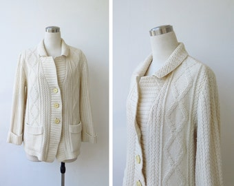 1980s Vintage Ivory Cardigan Sweater Cream Fisherman Cable Knit Jacket Knitted Cardigan