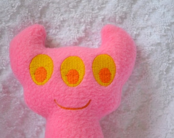 Handmade Stuffed Pink Horned Monster - Fleece, Child Friendly machine washable softie plush