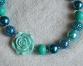Teal Blue Rose Chunky Gum Ball Beaded Necklace: Photo Prop