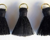 Small Cotton Jewelry Tassels with Matching Binding and Gold Plated Jump Ring, Black Tassels, 3 pcs, Approx 25mm, TSL9, Zardenia