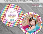 SALE INSTANT DOWNLOAD - CandyLand Birthday Invitation- custom photo templates for photographers on MPixPro