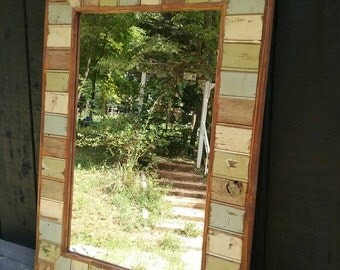 Bathroom Vanity Window Mirror - Reclaimed Wood Mirror -Large Wall Mirror - Rustic Modern Home - Home Decor -Mirror