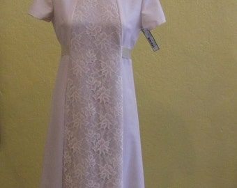 Sale Valentines Wedding Dress, Floor Length, Short Sleeves, Lace Panel, Circa 1970s, Item #9340