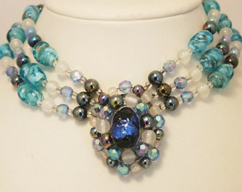 Vintage blue glass bead necklace.  Choker necklace.  3 row necklace
