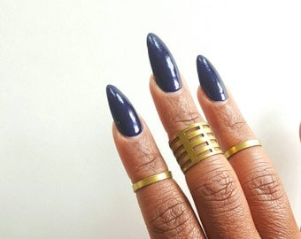 Geometric statement midi ring//Gold stacking ring//large brass band ring //adjustable brass ring// The Kenna