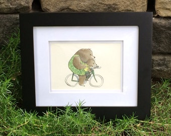 Cycling Cub -- Digital Watercolor Print -- Mother Bear with Baby on Bike -- Cute Family Art