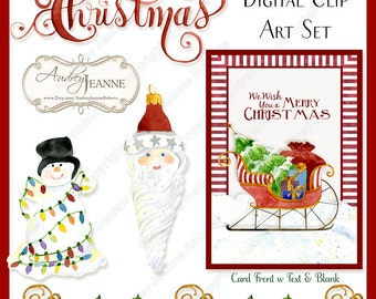 Watercolor Christmas Digital Clip Art Santa Sleigh Script Calligraphy Word Art Vintage Mercury Glass Ornaments 5x7 card snowman E15-27A
