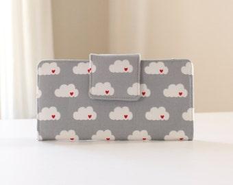 Fabric Women's Wallet, Gray Cloud Wallet, Handmade Bifold Wallet in Gray Clouds - READY to SHIP