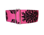 Hot Pink Martingale Collar, 2 Inch Martingale Collar, Damask, Hot Pink Dog Collar, Greyhound Martingale, Sighthound Collar