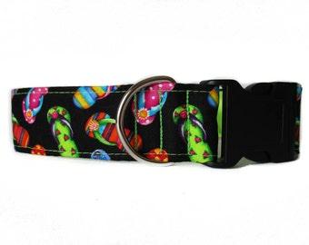 Flip Flop Dog Collar, Wide Dog Collar, Beach Dog Collar, Side Release Dog Collar, Neon Dog Collar, Large Dog Collar