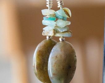 Jasper and Amazonite Earrings