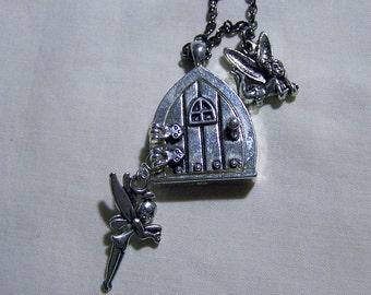 Faery Door with Faeries Silver Necklace