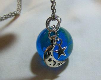 Blue Glass Planet Earth Pendant