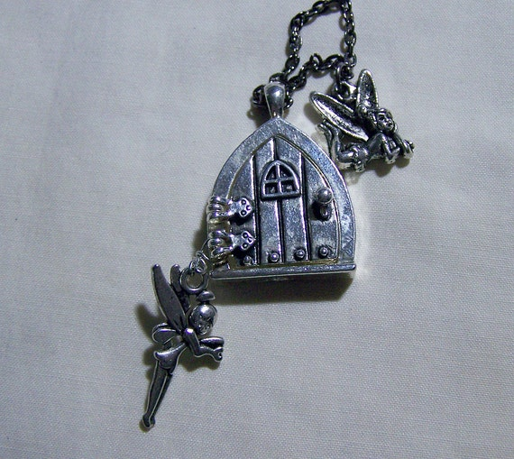 Faery Door with Faeries Silver Necklace