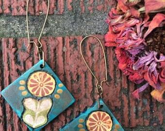 Folk EARRINGS, reversible earrings, wood earrings, boho earrings, free people style earrings,hippy earrings,  daisy earrings art deco, Zasra