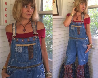 LOVE Sale Bib overalls, denim bib overalls, Size M/L festival bib overalls, eco clothing, eco hippy bibs, patchwork bibs, altered overalls,