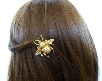 Bumblebee Hair Clip Bumble Bee Barrette Gold Insect Bug Nature Lover Forest Garden Woodland Girl Accessories Wife Womens Gift For Her Fall