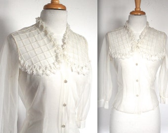 Vintage 1950s Blouse // 40s 50s Sheer White Ruffled Windowpane Square Yoke Blouse with Rhinestone Buttons