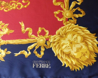 Vintage Scarf // 80's 90's Gianfranco Ferre Silk Scarf