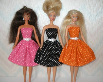 "Handmade 11.5"" fashion doll clothes - Your choice -- pink, black or orange and white polka dot dress"