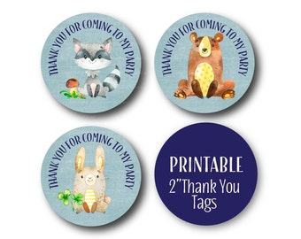 Woodland Thank You Tags, Thank You Favor Circles, Birthday Thank you,  Thank You Tags, Printable Stickers - 1492