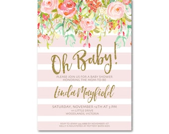 Pink and Gold Baby Shower, Oh Baby Baby Shower Invitation | Spring Flowers Glitter invite | BabyShower | Faux Glitter  Printable 0501