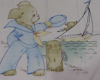 Vintage Tinted Vogart Embroidered Pillow Cover-Pillow Top-Feedsack-Puppies-Sailing-Sailor Bear-Nursery