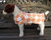 Pet Jacket -  Orange Argyle Fleece Dog Coat- Size XS 10 - 12 Inch Back Length