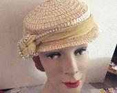 Vintage 1940s 1950s Hat Deadstock NOS With Original Tag Irene Of New York Designer Cream Color Straw Velvet Rhinestones